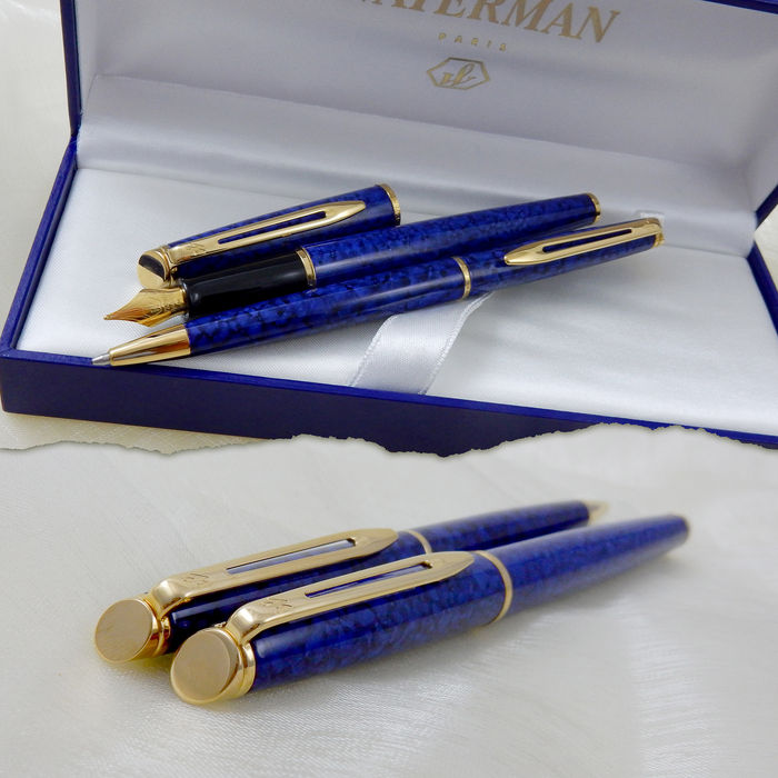 Waterman Hemisphere Blue Marble Lacquer Gt Fountain Pen