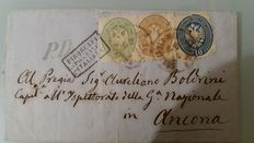 Lombardy Venetia 1864 - Letter with mixed stamps to Ancona