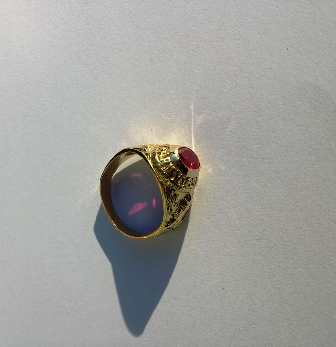 Men S  Karat Gold Ring With Synthetic Ruby