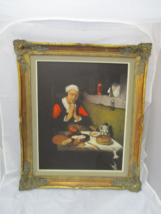 Painting Of A Beguine Non In Baroque Frame First Half 20th