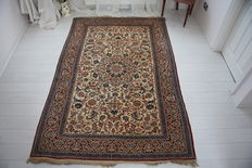 Very fine handmade silk and wool Persian Todeshk Nain rug circa 1930
