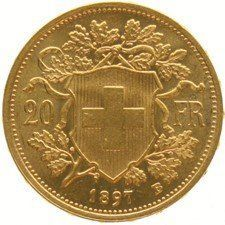 "Switzerland – 20 francs ""Vreneli"" 1897B – Gold"