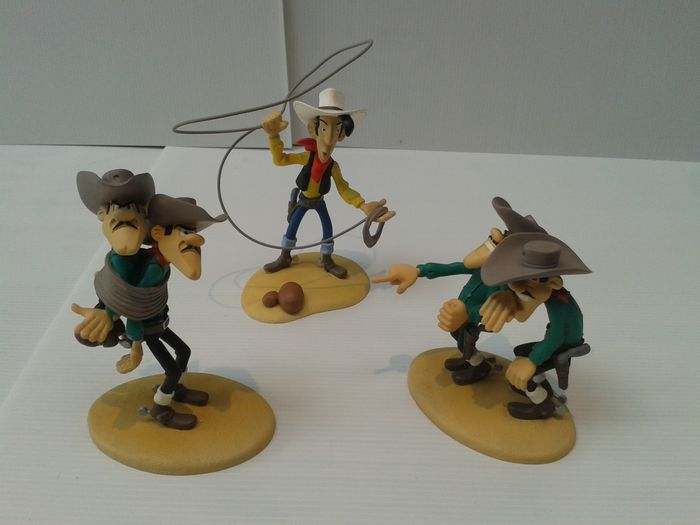 Morris - 3x Figure Tralala TLL 01 + TLL 02 + TLL 03 - Lucky Luke + Joe and Averell + Jack and William - (2001)