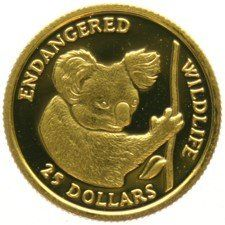 "Cook Islands – 25 Dollars 1991 ""Koala"" – gold"
