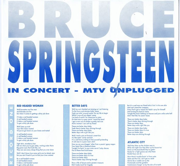 Bruce Springsteen - 2LP In Concert / MTV Plugged (Columbia 473860-1) made  in Europe - Catawiki