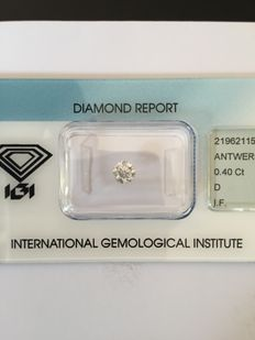0.40 ct brilliant geslepen diamant D IF