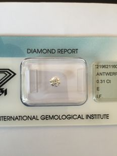 0.31 ct brilliant cut diamond, E IF