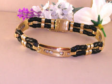 Men's leather and diamond bracelet