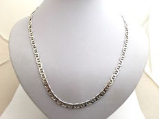 .925 Silver link necklace with flat links - Length: 52 cm