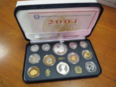 Italian Republic — Coin set, Proof, 2001, 'Giuseppe Verdi' (incl. silver)