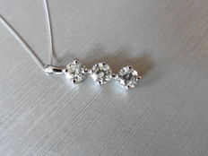18kt white gold Diamond Trilogy Pendant - 1.50ct  Vs1