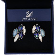 Swarovski - Set of silver-coloured clip earrings - Brooch set with marquise cut crystals.