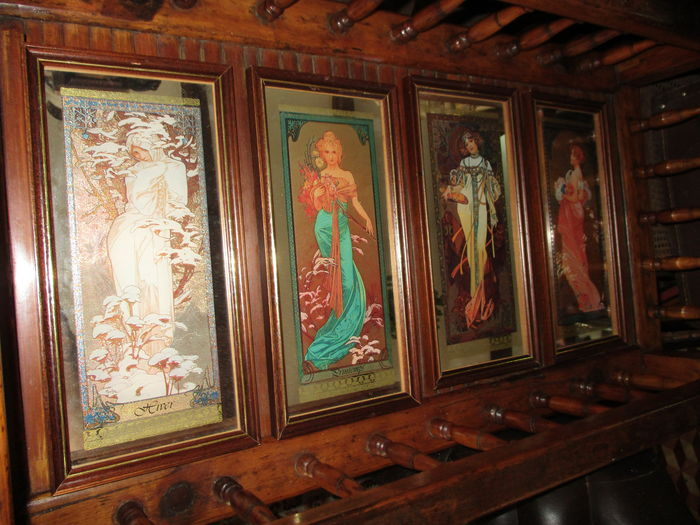 Outstanding alphonse mucha rare vintage mirroir painted for Miroir 220 review