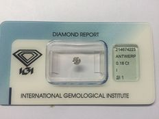 Brilliant-cut diamond – 0.18 ct – I/SI1 – With IGI certificate