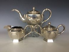 Three-part export silver theeset - China - late 19th/early 20th century