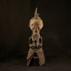 African tribal SONGYE Personal Power Figure Nkisi with mask. D.R.C. Democratic Republic Congo. 1