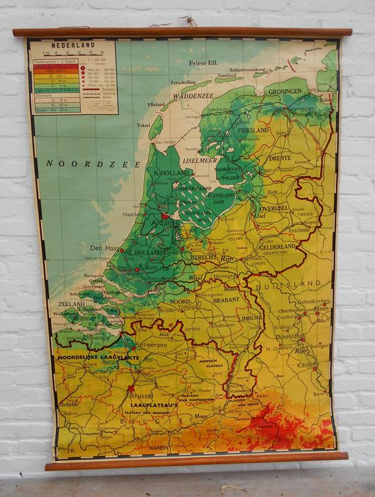 Old school map geography the Netherlands wallscroll Catawiki