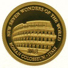 Solomon Islands - 10 Dollars 2007 - Roman Colosseum Italy, gold