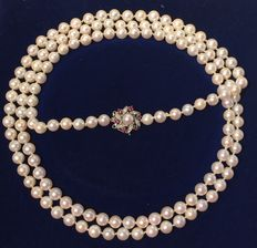 Pearl necklace approx. 7.5 mm with white gold clasp by Bucherer