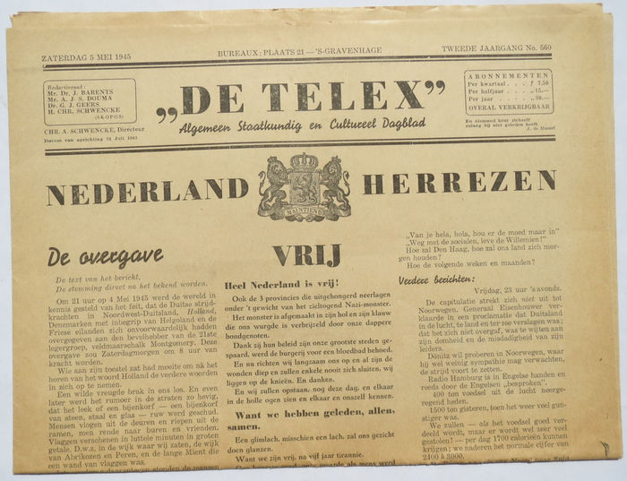 Illegal Press; Lot with 8 Dutch clandestine/liberation newspapers - 1945