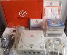 Japanese Sega Dreamcast console boxed with Visual Memory Unit, Vibration Pack and 10 games: Grandia II, Phantasy Star Online, Chu-Chu Rocket, Blue Stinger and 6 more