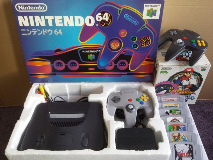 japanese nintendo 64 console with special mario kart 64 controller package and 6 more games. Black Bedroom Furniture Sets. Home Design Ideas