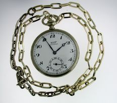 Tissot – Open Face Pocket Watch With Chain - Swiss – 1935