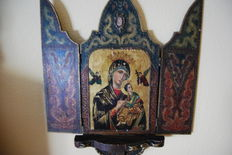 Religious Icon Triptych Mother of God, 20th century, great size.