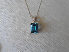 18k Gold London Blue Topaz and Diamond Pendant