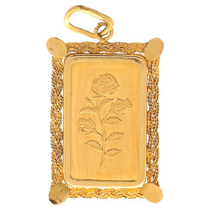 Yellow Gold Pendant Set With A Gold Bar Of 5 Grams Fine Gold