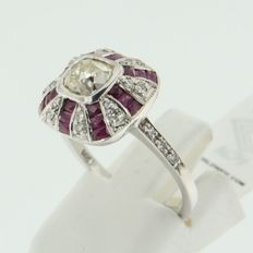 White gold 14 kt ring in Art Deco style with ruby, octagon and bolshevik cut diamonds
