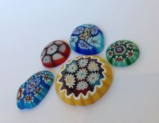 ALT factory Murano - Lot of 5 millefiori glass elements for paper weight