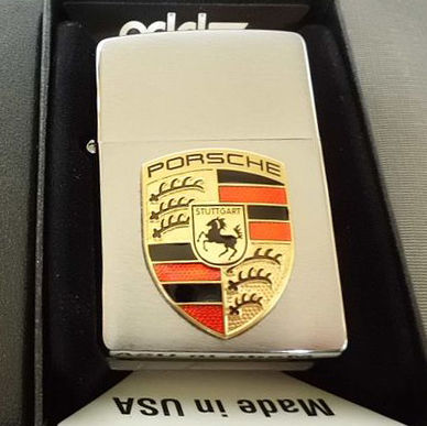 Zippo lighter with Porsche enamel emblem, original Made in