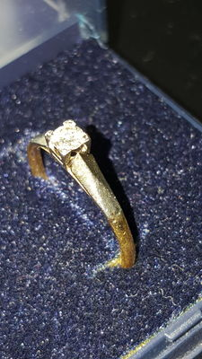 18 kt yellow gold ring with solitaire diamond, 0.20 ct (size 15)