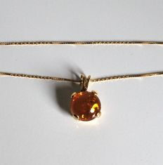18 kt yellow gold chain necklace with Baltic amber pendant