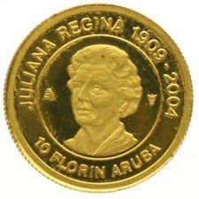 Aruba - 10 florins 1909-2004 - Juliana Regina - gold.