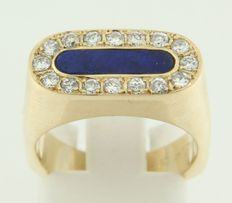 14 kt yellow gold pinky ring set with lapis lazuli and diamonds, ring size 16.5 (52)