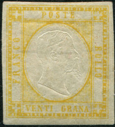 Province of Naples 1861 – 20gr Yellow – Sassone 23 –