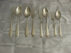 Four silver children's cutlery sets, several models, Netherlands 1940-1970