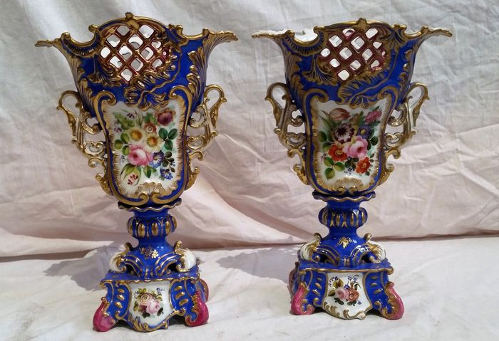 Jacob Petit - pair of porcelain vases, signed, Louis Philippe period