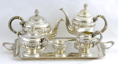 Coffee set, six pieces, .915 silver, Spain, early 20th century