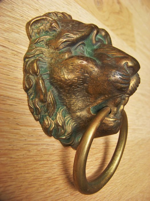 Antique bronze lion door knocker / brass - France - Early 20th Century - Antique Bronze Lion Door Knocker / Brass - France - Early 20th