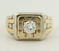 Bicolour gold men's ring set with brilliant cut diamond of 0.70 ct