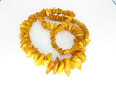 Baltic natural amber necklace, yellow colour, 141.92 g