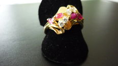 Women's gold ring 18 kt with coloured stones and zirconia, size 56