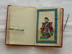 Small album with twelve pith paper paintings of noble men and women - China - 19th century