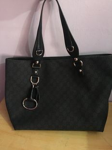 Gucci - GG pattern black canvas/leather Tote