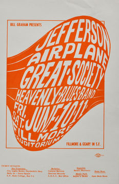 Ephemera; Lot with 2 concert handbills for Jefferson Airplane and other artists by Wes Wilson - 1966