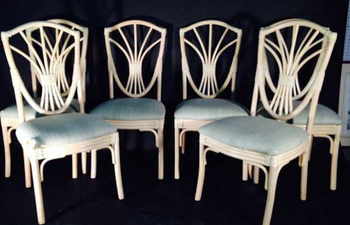 A set of six elegant chairs in bambu - 1980s