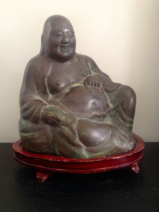 Bronze Buddha on wooden pedestal – China – Mid 20th century